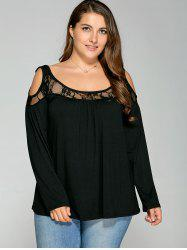 Lace Splicing Cold Shoulder T Shirt - BLACK