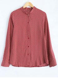 Leaf Print Button Up Shirt - RED S