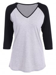 Raglan Sleeve V Neck T Shirt