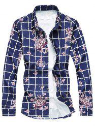 Flower Print Long Sleeve Plaid Shirt - PURPLISH BLUE M