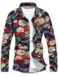 All-Over Flower Print Long Sleeve Shirt - FLORAL L
