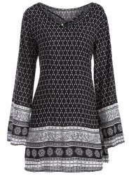 Long Sleeve Indian Print Dress - BLACK
