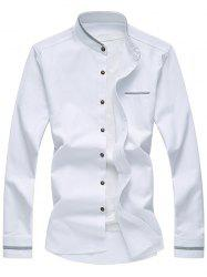 Stand Chinese Collar Long Sleeve Selvedge Shirt - WHITE 7XL