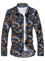 Vintage All-Over Flower Print Long Sleeve Shirt - FLORAL