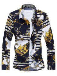 Vintage Sailboat Print Long Sleeve Shirt - COLORMIX