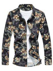 Vintage Flower Print Long Sleeve Shirt -