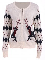 Christmas Deer Zip Up Cardigan - OFF-WHITE