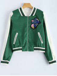 Fleur brodée Zip Up Baseball Jacket -