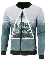 Zip-Up City Printed Jacket - GRAY 4XL
