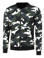 Zip-Up Camouflage Printed Jacket -