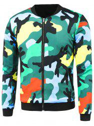 Zip-Up Camo Printed Jacket - COLORMIX 3XL