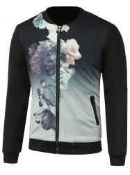 Stand Collar 3D Flower Printed Jacket -