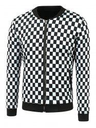 Zip-Up Grid Printed Jacket