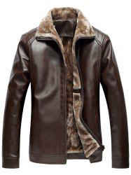 Faux Fur Collar Zip-Up PU Jacket - COFFEE