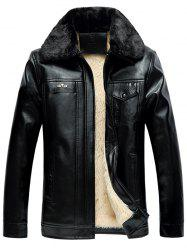 Faux Fur Collar Zip-Up PU Thermal Jacket