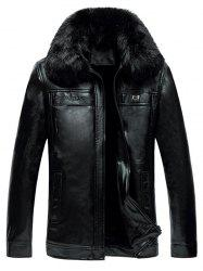 Faux Fur Collar Zipper-Up Thermal PU Jacket - BLACK