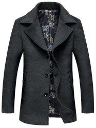 Manteau avec Boutonnage Simple en Laine -