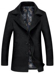 Lapel Collar Single Breasted Wool Blend Coat - BLACK