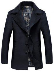 Lapel Collar Single Breasted Wool Blend Coat