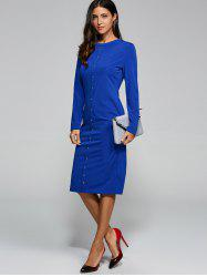 Long Sleeve Jersey Jumper Midi Work Dress