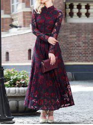 Vintage Lace Long Sleeve A Line Maxi Prom Dress -