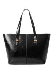 PU Leather Metal Stitching Shoulder Bag