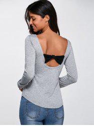 Open Back  Bow Cutout Long Sleeve T-Shirt