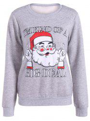 Plus Size Flocking Christmas Sweatshirt - GRAY