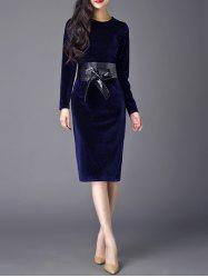 Velvet Sheath Dress With Belt