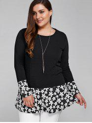 Splicing Floral Plus Size T Shirt