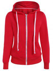 Zip Up Drawstring Pocket Conception Hoodie - Rouge 3XL