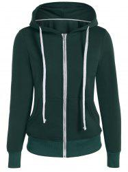Zip Up Drawstring Pocket Design Hoodie - GREEN