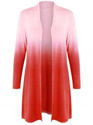 Collarless Ombre Open Front Coat -