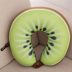 Soft Memory Foam Neck Cushion Kiwi Fruit U Shape Pillow - GREEN