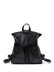 PU Leather Double Pocket Magnetic Closure Backpack