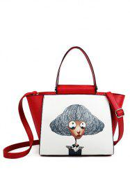Metal Characters Printed Colour Block Tote Bag -