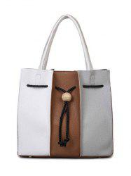 Colour Block String Textured Leather Tote Bag