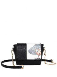 Colour Spliced Characters Printed Chain Crossbody Bag