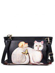 Rivets Cat Printed Colour Block Crossbody Bag - BLACK