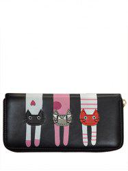 Cartoon Cat Print Zip Around Wallet - BLACK