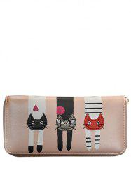 Cartoon Cat Print Zip Around Wallet