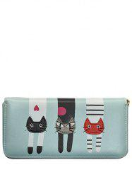 Cartoon Cat Print Zip Around Wallet - LIGHT BLUE