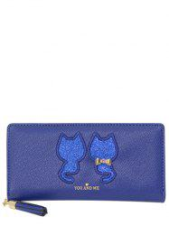Glands Paillettes Cat Motif Wallet - Bleu