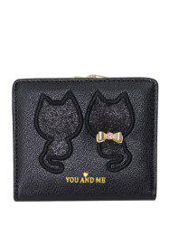 Bow Motif animal Paillettes Wallet - Noir