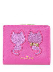 Embroidered Sequins Bi Fold Mini Wallet - ROSE MADDER