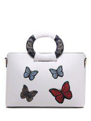 PU Leather Butterfly Pattern Embroidery Tote Bag -