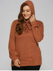 Slouchy Pullover Hoodie With Pockets - TEA-COLORED XL