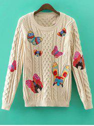 Cable Knit Butterfly Embroidered Jumper -
