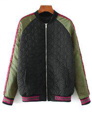 Embroidered Quilted Bomber Jacket - BLACK M