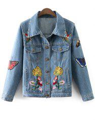 Floral Butterfly Embroidered Denim Jacket -
